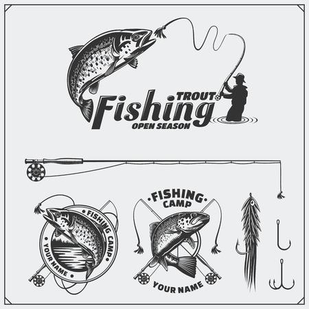 Set of retro fishing labels, badges, emblems and design elements. Vintage style design. Иллюстрация