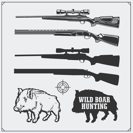 Hunting set. Vector monochrome illustration of a Wild Boar and Hunting rifles.
