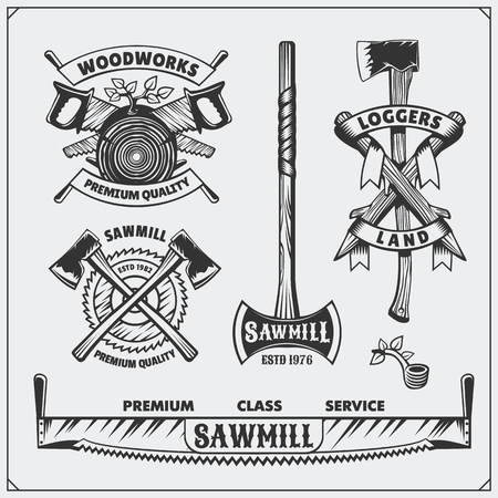 logging: Vector set of vintage Lumberjack logos, labels and emblems. Axes and saws. Illustration