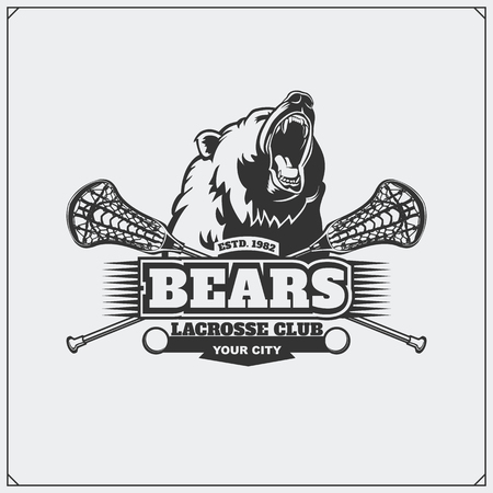 Lacrosse club emblem with head of bear.