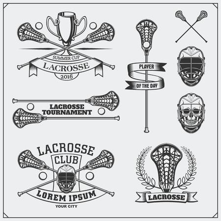 Lacrosse club labels, emblems and design elements. Illustration