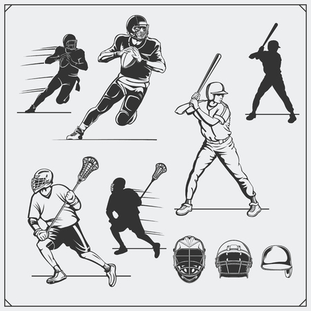 Illustration of sports players. Football, baseball and lacrosse.