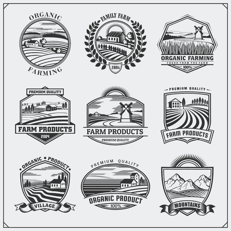 Vector illustration of retro landscapes. Farm fresh food labels, badges, emblems and design elements. Organic, ecology and bio natural design. Set of vintage premium quality labels. 向量圖像