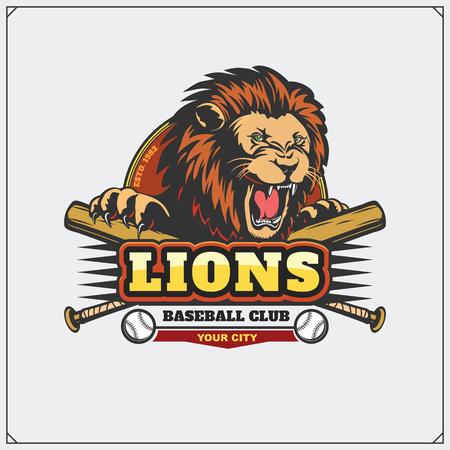 Baseball club emblem with head of lion.
