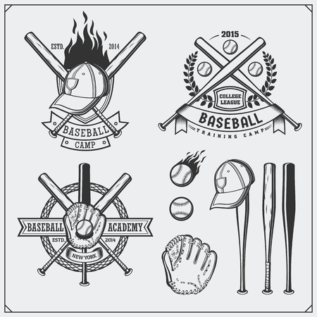 Baseball club emblems, labels and design elements. Baseball player, balls, helmets and bats. Baseball player, ball, helmet, glove and bat.