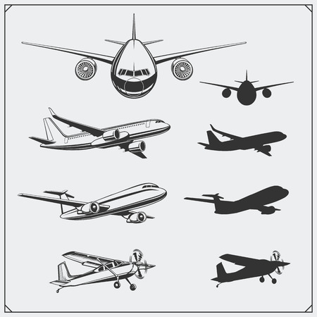 Vector set of airplanes silhouettes. Ilustrace