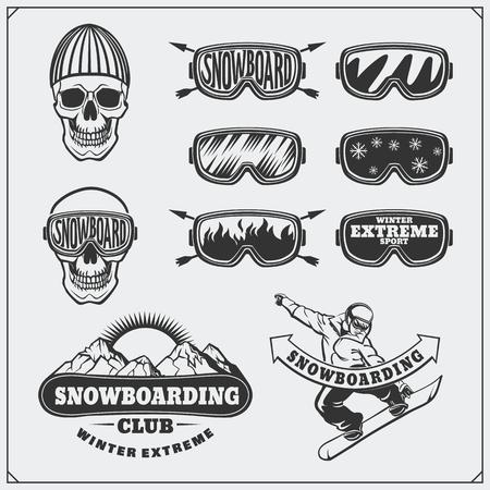Set di etichette estreme Snowboard, emblemi, distintivi ed elementi di design. Simboli avventura montagna d'epoca.