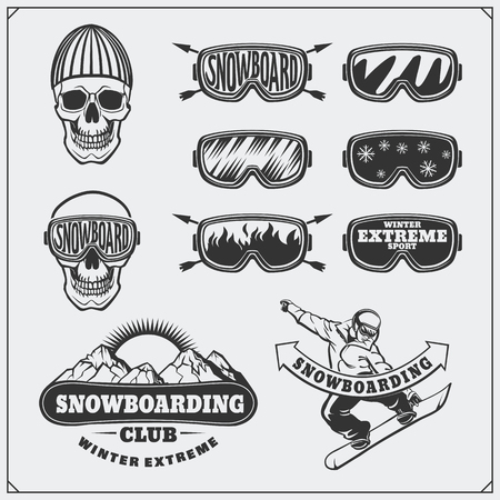 Set of Snowboarding extreme labels, emblems, badges and design elements. Vintage mountain adventure symbols. Illustration