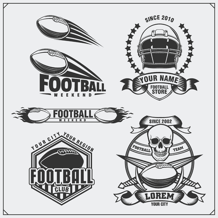 collegiate: Soccer Football labels, emblems and design elements. Vector set. Monochrome design.