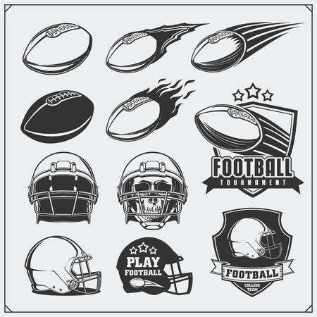collegiate: Soccer Football labels, emblems and design elements. Balls and helmets. Vector set. Monochrome design.