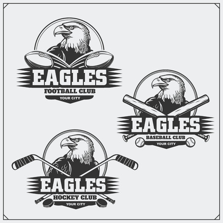 Football, baseball and hockey labels. Sport club emblems with eagle.