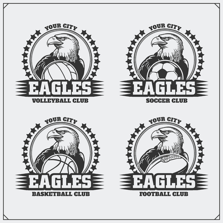 Volleyball, baseball, soccer and football labels. Sport club emblems with eagle. Ilustrace