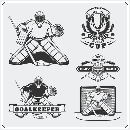 Set of ice hockey labels, emblems, icons, badges and design elements.