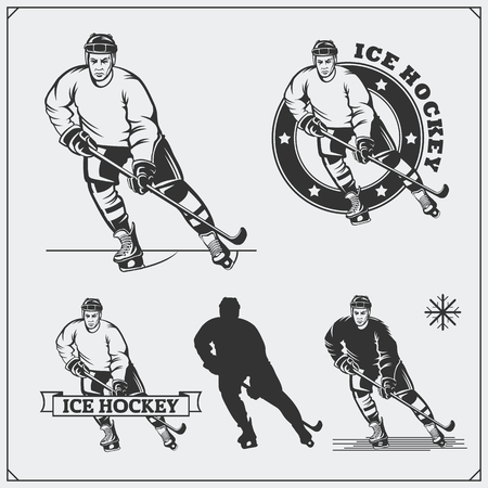 Set of ice hockey labels, emblems, icons, badges, design elements and silhouettes of the players. Ilustrace