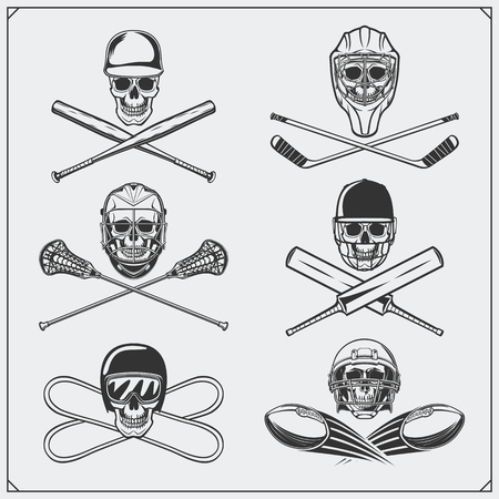 Set of sport emblems: ice hockey, lacrosse, baseball, football, cricket and snowboarding.