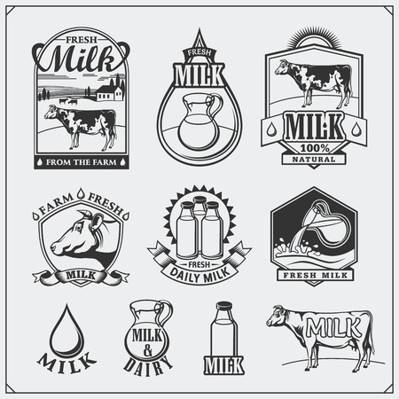 Cows milk labels, emblems, icons and design elements.