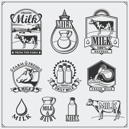 skim: Cows milk labels, emblems, icons and design elements.