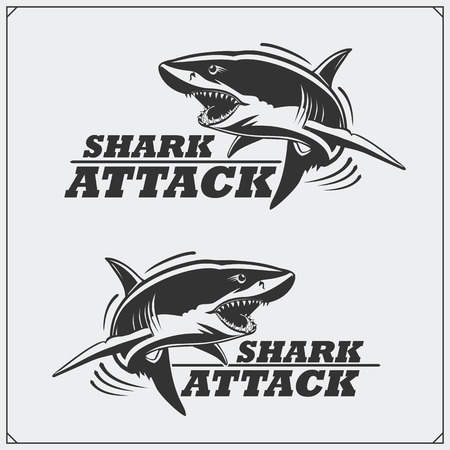 The emblem with shark for a sport team. Ilustrace