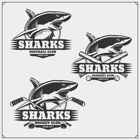Football, baseball and hockey logos and labels. Sport club emblems with shark.