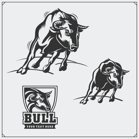 Raging bull. Vector emblems, labels and badges. Ilustrace