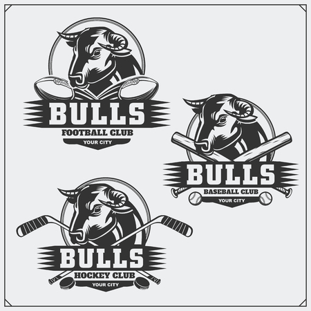 Football, baseball and hockey logos and labels. Sport club emblems with bull.