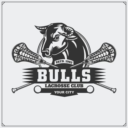 Lacrosse club emblem with bull head.
