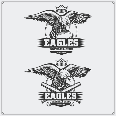 Football and baseball logos and labels. Sport club emblems with eagle.