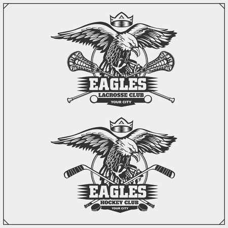 Lacrosse and hockey logos and labels. Sport club emblems with eagle. Ilustrace