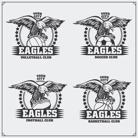 Volleyball, baseball, soccer and football logos and labels. Sport club emblems with eagle.