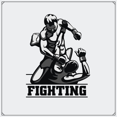 Fighters of martial mixed arts. Sport club emblem. Vector illustration. Фото со стока - 76533663