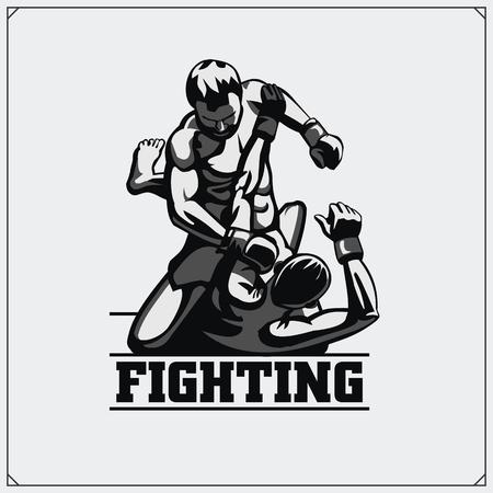 rash: Fighters of martial mixed arts. Sport club emblem. Vector illustration.