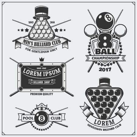 Set of billiards labels, emblems, badges, icons and design elements.