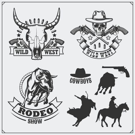 Wild west. Set of rodeo, sheriff and cowboy vintage emblems, labels, badges and design elements. Ilustração