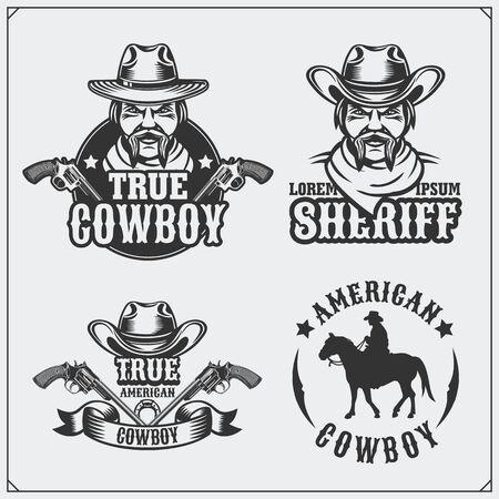 Wild west. Set of sheriff and cowboy vintage emblems, labels, badges and design elements.