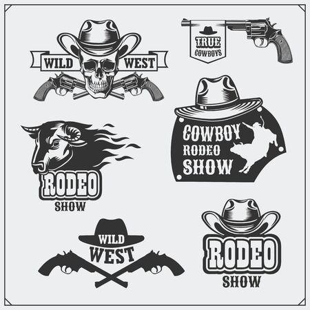 Wild west. Set of rodeo, cowboy vintage emblems, labels, badges and design elements.