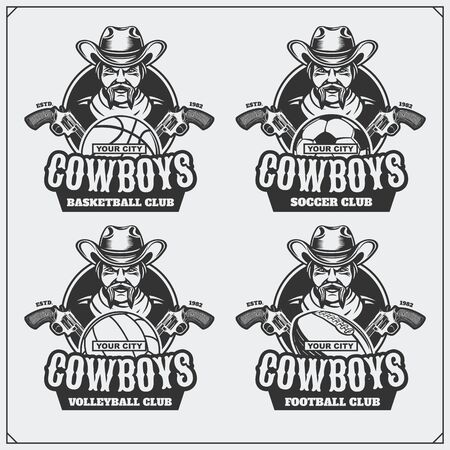 Volleyball, baseball, soccer and football logos and labels. Sport club emblems with cowboy. Ilustração