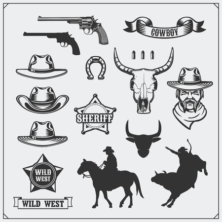 Wild west. Set of rodeo, sheriff and cowboy vintage emblems, icons and design elements. Ilustração