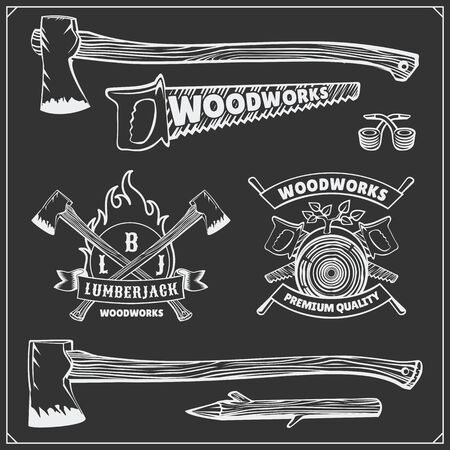 Vector set of vintage Lumberjack, labels, emblems and design elements. Axes and saws. Ilustrace