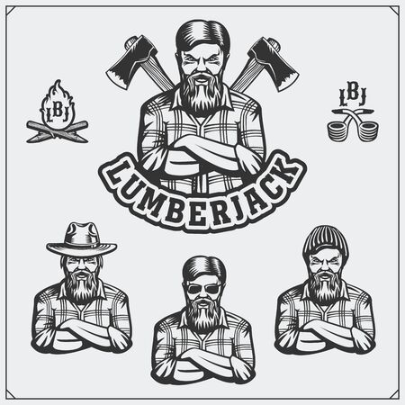 Set of Lumberjack labels, emblems, badges and design elements. Vintage style.