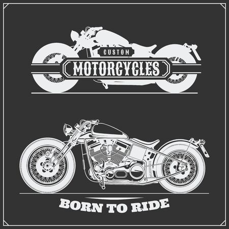 Set of motorcycles. Emblems of bikers club. Vintage style. Monochrome design.
