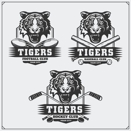 Football, baseball and hockey  and labels. Sport club emblems with tiger.