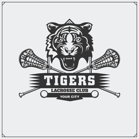 Lacrosse club emblem with angry tiger. Print design for t-shirt.