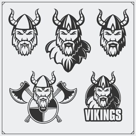 Set of viking emblems. Warriors a viking helmet. Vintage style.