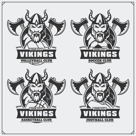 Volleyball, baseball, soccer and football and labels. Sport club emblems with viking.