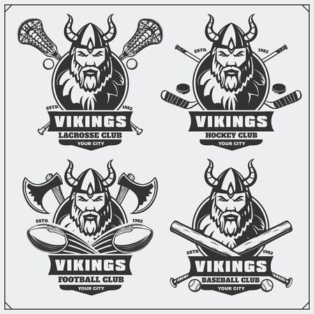 Football, baseball, lacrosse and hockey and labels. Sport club emblems with viking. Print design for t-shirt.