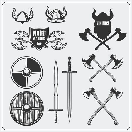 Viking set. Horned helmet, shield, sword and ax. Vintage style. Imagens - 139153956