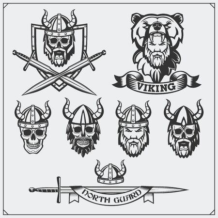 Set of viking labels, badges and emblems. Skull, horned helmet, warrior, shield, sword. Vintage style.