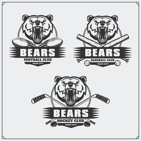 Football, baseball and hockey logos and labels. Sport club emblems with bear. Vectores