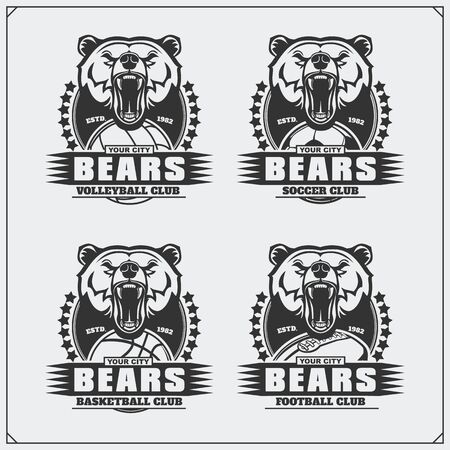 Volleyball, baseball, soccer and football logos and labels. Sport club emblems with bear.