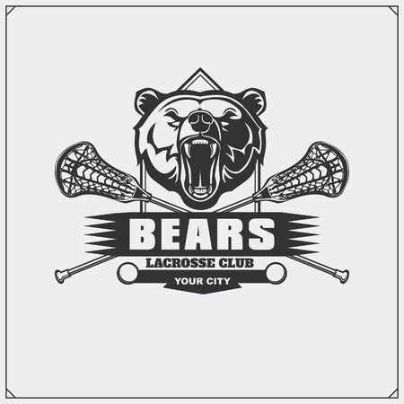 Lacrosse club emblem with bear head. Imagens - 139153965